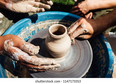 Making of a bowl of clay