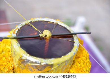 Making of candle for the Lent tradition in Thai temple , Thailand