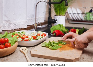 Making a cegetables salad - chopping lettuce leaves, closeup on hands and cutting board, shallow depth