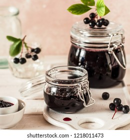 Making Chokeberry Jam, Canning Aronia Preserves, square