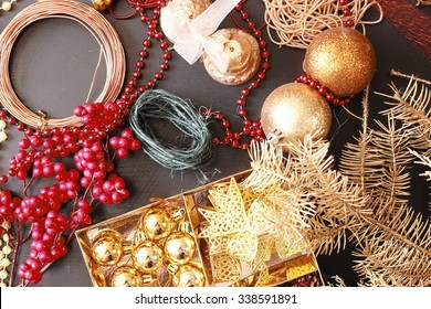 Making christmas advent wreath. Tools and decorations.