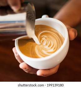 making coffee  with latte art