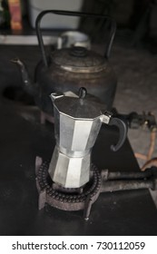 Making coffee and tea in a camp kitchen