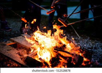Making and cooking Hot dog sausages over open camp fire. Grilling food over flames of bonfire on wooden branch - stick spears in nature at night. Scouts way of preparing food.