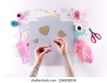 Making diy project. Knitting decoration. Craft tools and supplies. Season home valentines day decor