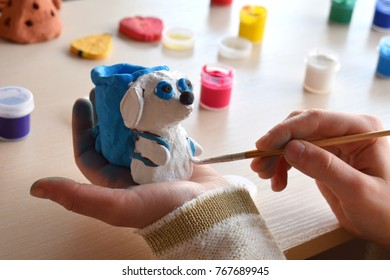 Making doityourself toys paints pottery clay stock photo royalty making do it yourself toys paints pottery clay dog figure with gouache solutioingenieria Gallery