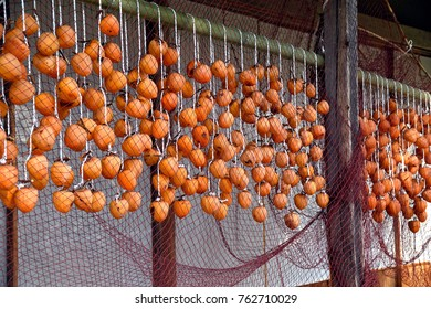 Making dried persimmon fruits.