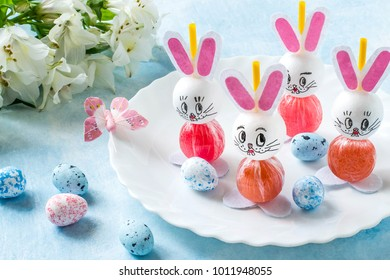Making Easter bunny from lollipop. Sweet gift to children. Creative idea for children's party. DIY concept. Step by step photo instructions. Step 8. Final result