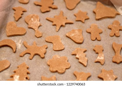 Making festive honey and gingerbread cookies. Selective focus.
