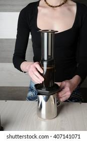 Making fresh coffee in Aeropress