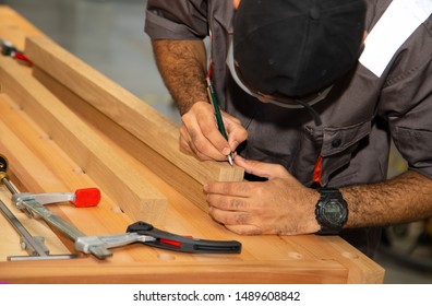 Making furniture from wood. Work carpenter. Carpentry tools. workshop