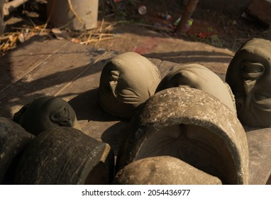 Making of goddess Durga idol. These idols are made for Durga puja, the biggest festival of West Bengal.
