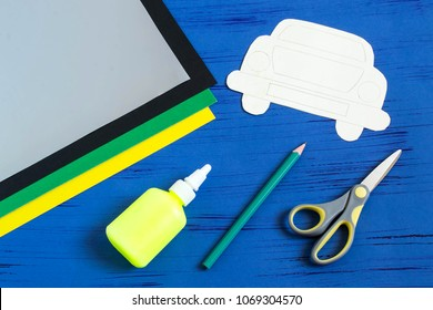 Making greeting card for Father's Day in shape of car. Children's art project. DIY concept. Step-by-step photo instruction. Step 1. Preparation of materials and tools