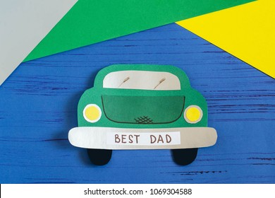 Making greeting card for Father's Day in shape of car. Children's art project. DIY concept. Step-by-step photo instruction. Step 10. Final result