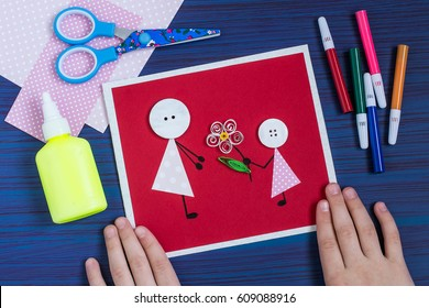 Handmade card images stock photos vectors shutterstock making a greeting card for mothers day childrens art project diy concept step m4hsunfo