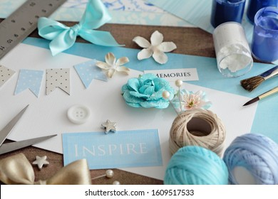 making greeting card. scrapbooking greeting card details and tools