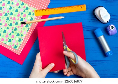Making greeting card for Valentine's Day. DIY art concept. Step-by-step photo instruction. Step 4. Cut along intended line
