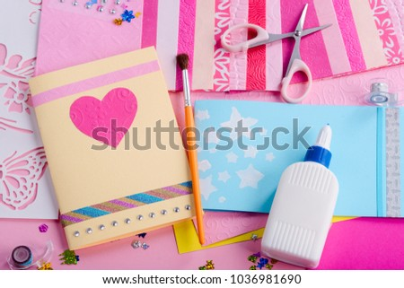 Making greeting cards girls workplace scissors stock photo edit now making of greeting cards girls workplace with scissors glue colored paper stencils m4hsunfo