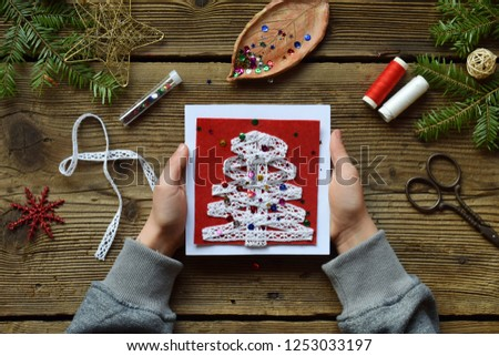 Making Handmade Christmas Greeting Card Felt Stock Photo Edit Now