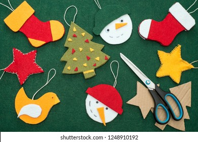Making of handmade christmas toys from felt. Christmas card