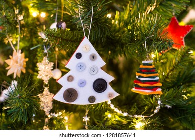 Making of handmade christmas toys from felt. Christmas card