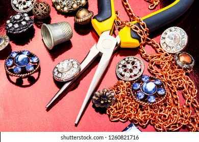 Making of handmade jeweller.Tools for jewelry making.Background for workshops