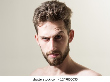 Making his beard hair more manageable. Personal grooming and morning routine. Man in morning after wakeup. Bearded man needs beard barber. Mens hair grooming. Barber shop.