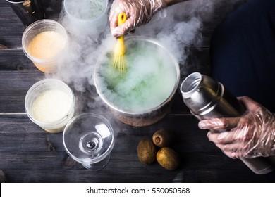 Making ice-cream with liquid nitrogen, chef show