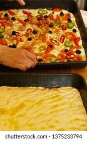 Making Italian focaccia in Making Italian focaccia in a cookig class, Squalzino, Puglia, Italy, Squalzino, Puglia, Italy