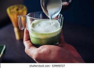 Making Of Japanese Drink Matcha Latte