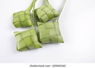 Making of Ketupat, a natural rice casing made from young coconut leaves for cooking rice