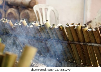 Making (Lemang) glutinous rice in bamboo cooked using firewood is a traditional way of the Malays. Lemang usually eaten with Rendang on festive day.