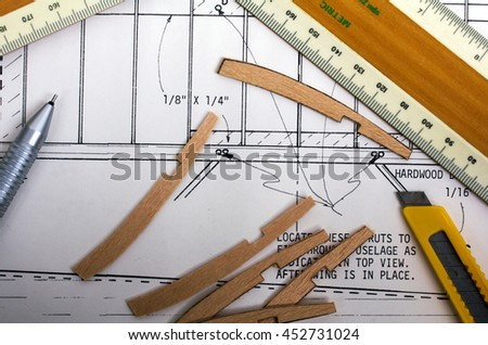 Making Model Airplane Balsa Wood Instructions Stock Photo (Edit Now