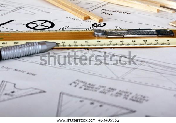 Making Model Airplane Balsa Wood Instructions Stock Photo