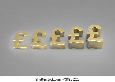 Making Money / British Pound Currency in Gold / 3D rendering