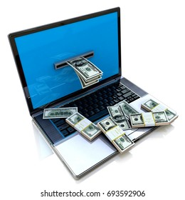 making money online - withdrawing dollars from laptop in the design of information related to internet work. 3d illustration