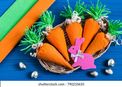 Making package in form of carrots for Easter bunny. Sweet gift to children. DIY concept. Step by step photo instructions. Step 9. Final result
