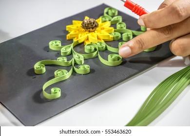 Making paper flower art by women