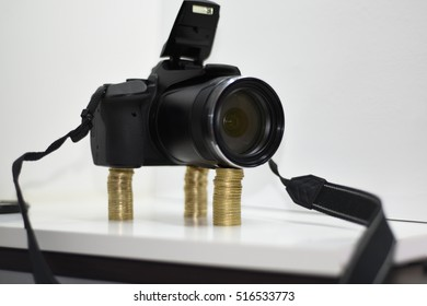 Making photos abstraction. Camera isolated on white background.