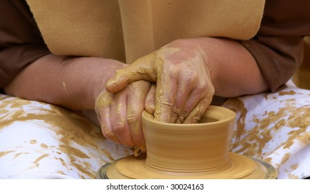 making pottery on a wheel