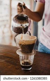 making pour over coffee drip by hand