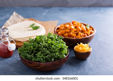 Making quesadillas with cheddar, kale and sweet potato