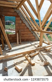 Making roof with wooden beams. Interior