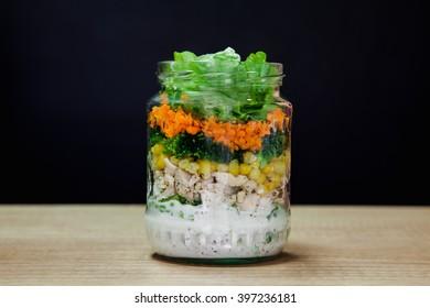 Making Salad In Jar. Step By Step