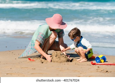 Making sand castle on the beach