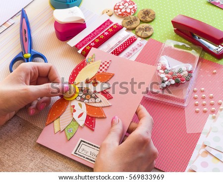Making Scrap Booking Birthday Card Scrapbook Button Stock Photo