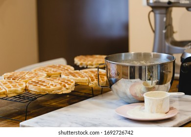 Making sourdough waffles for breakfast