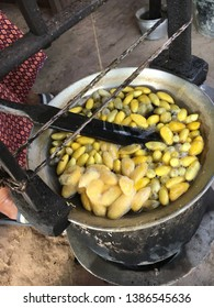 The making of Thai silk. Thai silk is produced from the cocoons of Thai silkworms. Then bring the cocoons to boiling water In order to remove raw silk fibers from cocoons