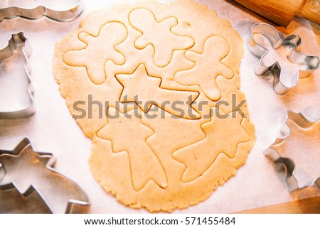 Making Traditional Christmas Cookies Cutters Holiday Stock Photo