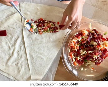 Making Turkish Pacanga Boregi with Dough pastirma and melted cheese / Pastirmali Borek Yufka Recipe.